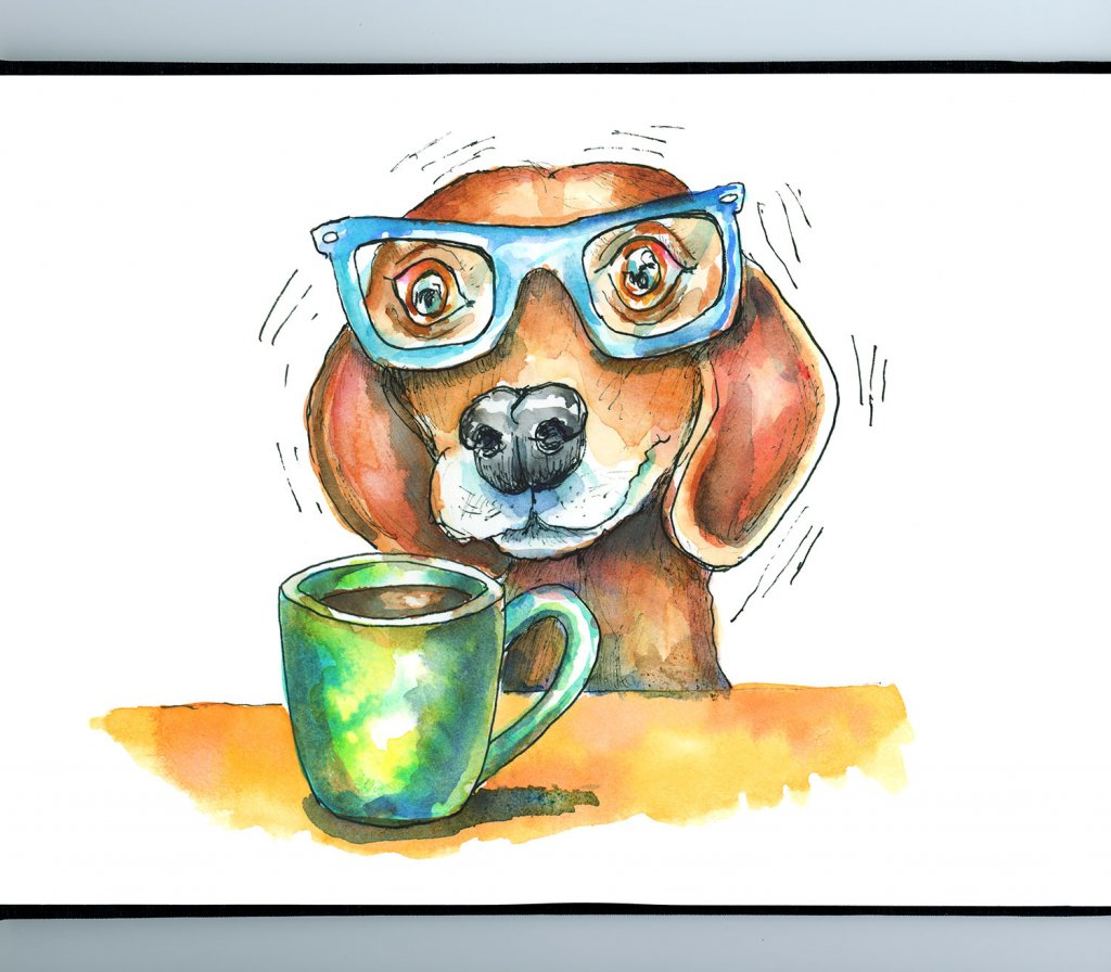 Coffee Jitters Jittery Dog With Mug Watercolor Illustration Painting_IG
