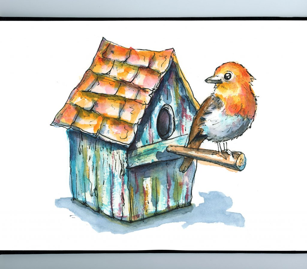 English Robin Blue Weathered Rustic Birdhouse Watercolor Illustration Painting Sketchbook Detail