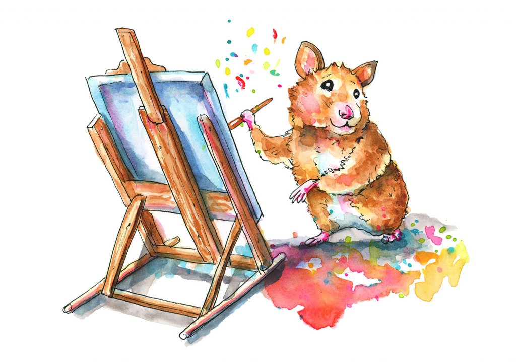 Hamster Painting With Easel Watercolor Illustration