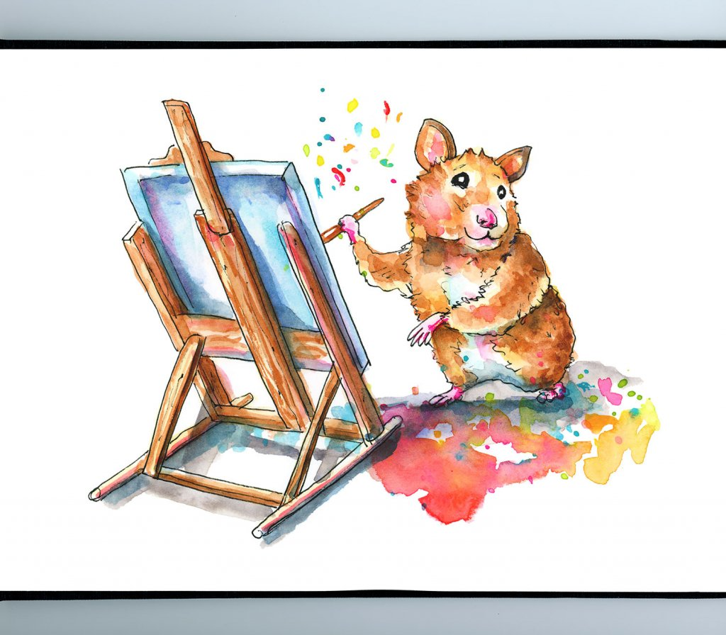 Hamster Painting With Easel Watercolor Illustration Sketchbook Detail