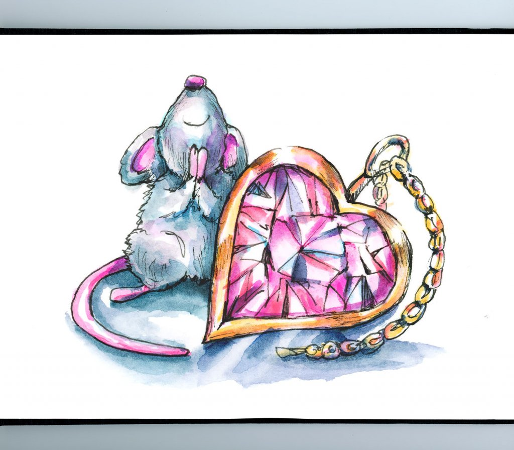 Heart Shaped Pink Diamond Jewelry Mouse Love Watercolor Illustration Painting Sketchbook Detail