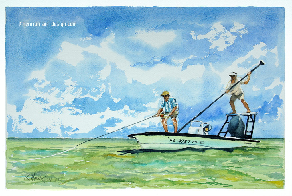 """""""He's on it!"""" Yet another tropical fly fishing scene commissioned by the same guy"""