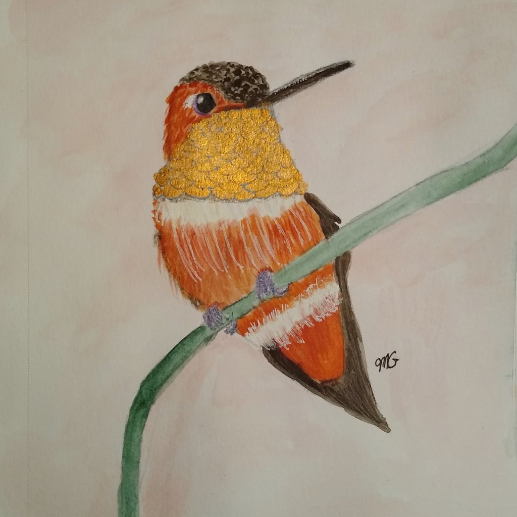 Prompt Feathered Painting of an Allen's Hummingbird. Used some metallic watercolor for the thr