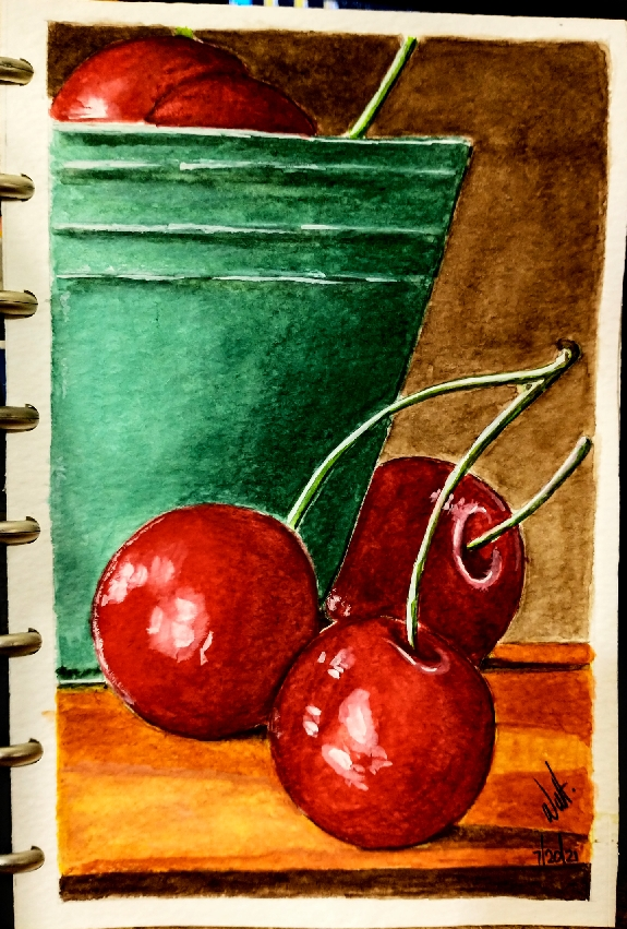 Red bloody cherries in my new hand made journal (I did this journal)…. It's my first wat