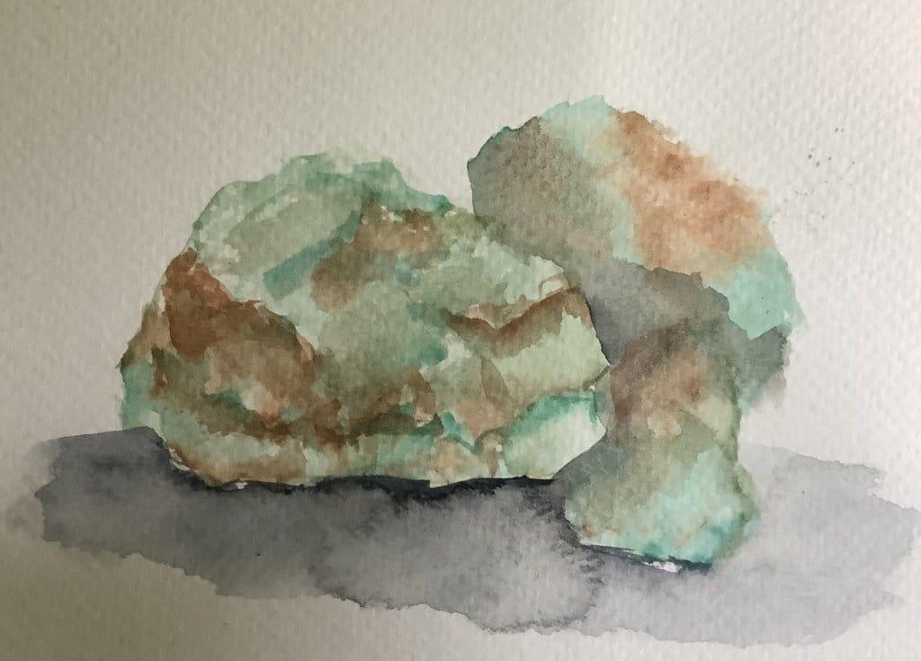 #doodlewashjuly2021 day 17: ROUGH chrysoptse stone #worldwatercolor month IMG_3292