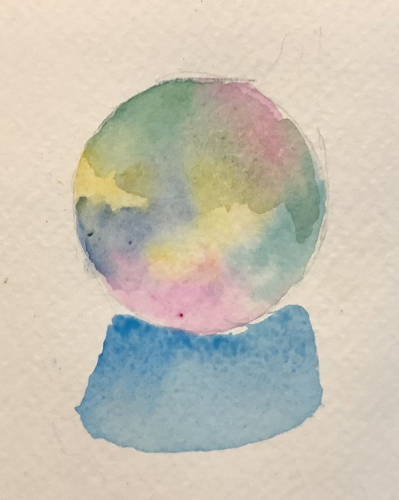 #doodlewashjuly2021 day 16 sometimes we need a crystal ball to find our VISION. #worldwatercolormont