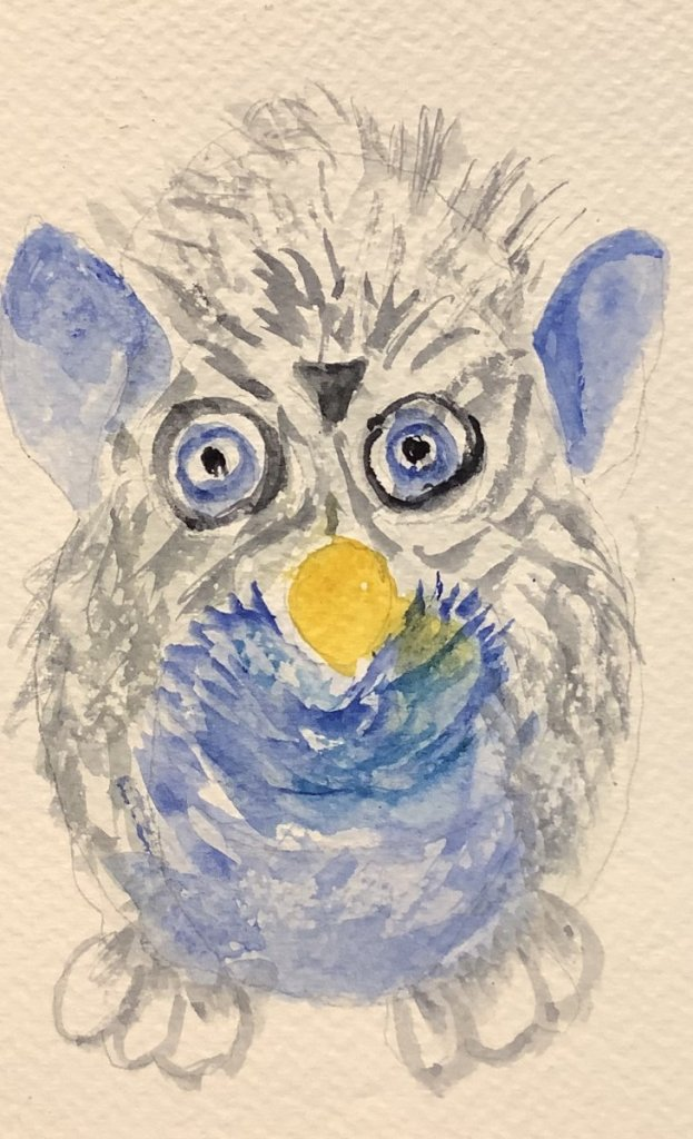 #doodlewashjuly2021 day 19 tickle: Mr Furby was a popular toy that would dance and giggle when you t
