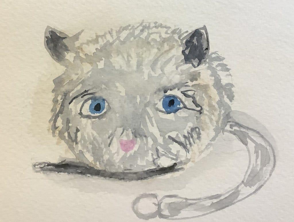 #doodlewashjuly2021: day 22 Jittery: Jittery mouse cat toy. #Worldwatercolormonth IMG_3304