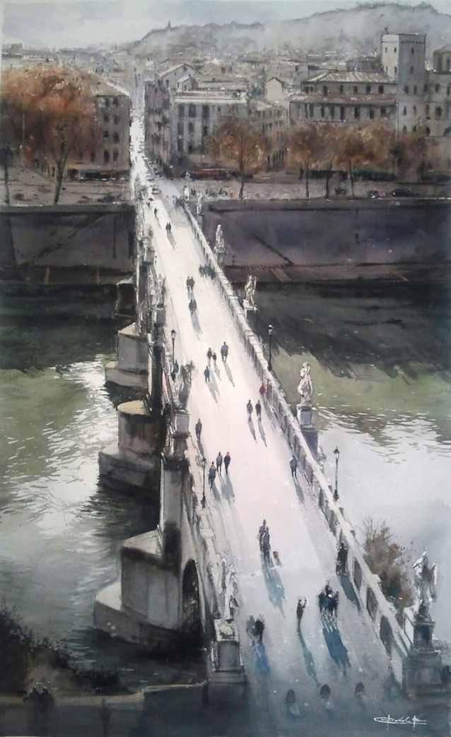 Puente de San Angelo(Roma) Watercolor Painting by Pablo Ruben