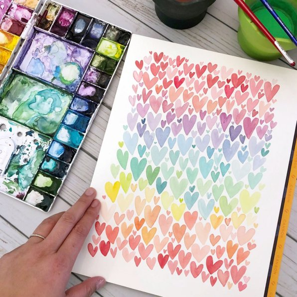 Rainbow Hearts Watercolor painting by Leslie Tieu