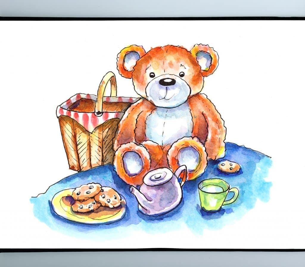 Teddy Bear Picnic Watercolor Illustration Painting_IG