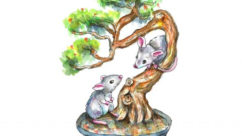 Two Mice In Bonsai Tree Watercolor Illustration Painting