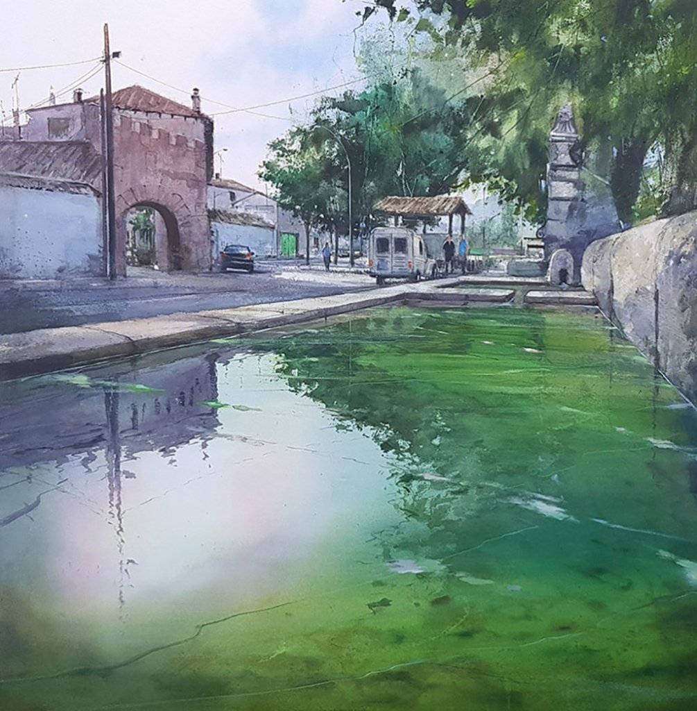Uclés Water Buildings Watercolour paintinb by Pablo Ruben