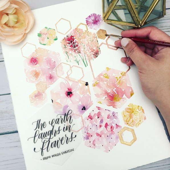 Watercolor flowers and letering by Leslie Tieu