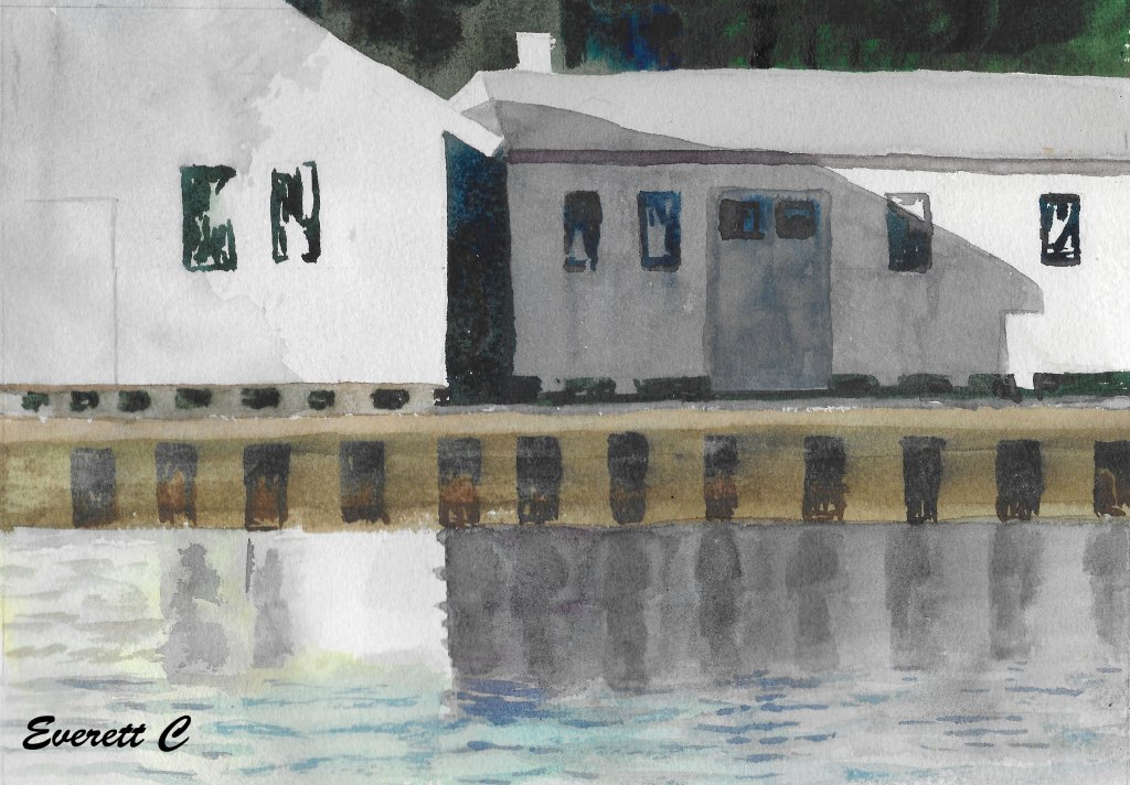 """Watercolor painting, """"Waterway Buildings."""" 8 x 10. Composition study for the pattern of"""