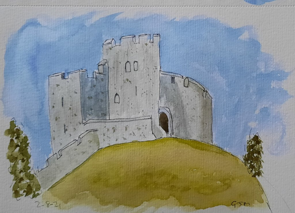 The Norman tower at Arundel Castle. #doodlewashaugust2021 Day 4 Castle. #worldwatercolorgroup #linea