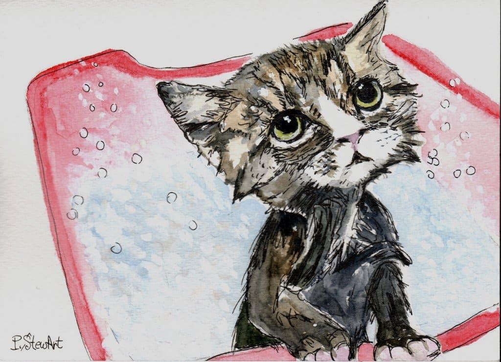 Wet Kitten, 5×7 watercolor greeting card, pen and ink. 5×7 wet kitten