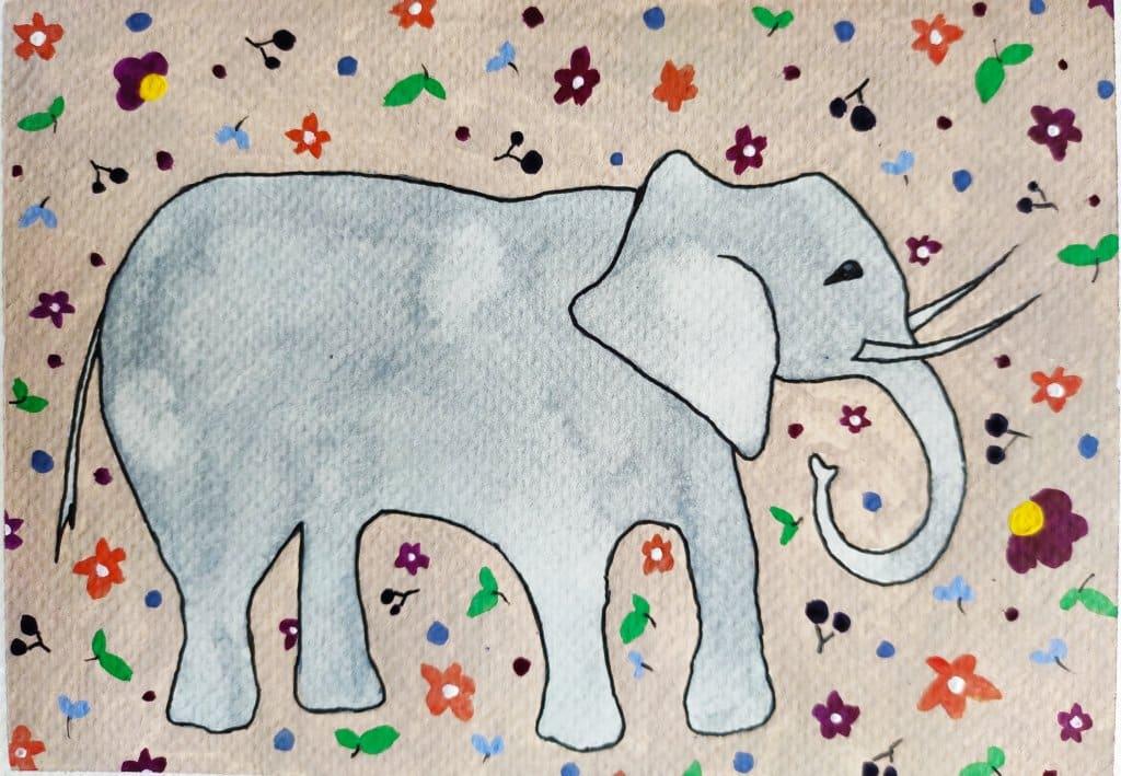 Day 01 Prompt: Elephant #doodlewashAugust2021 Elephant_Varsha Koli