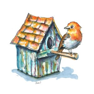 English Robin And Birdhouse Watercolor Illustration Detail