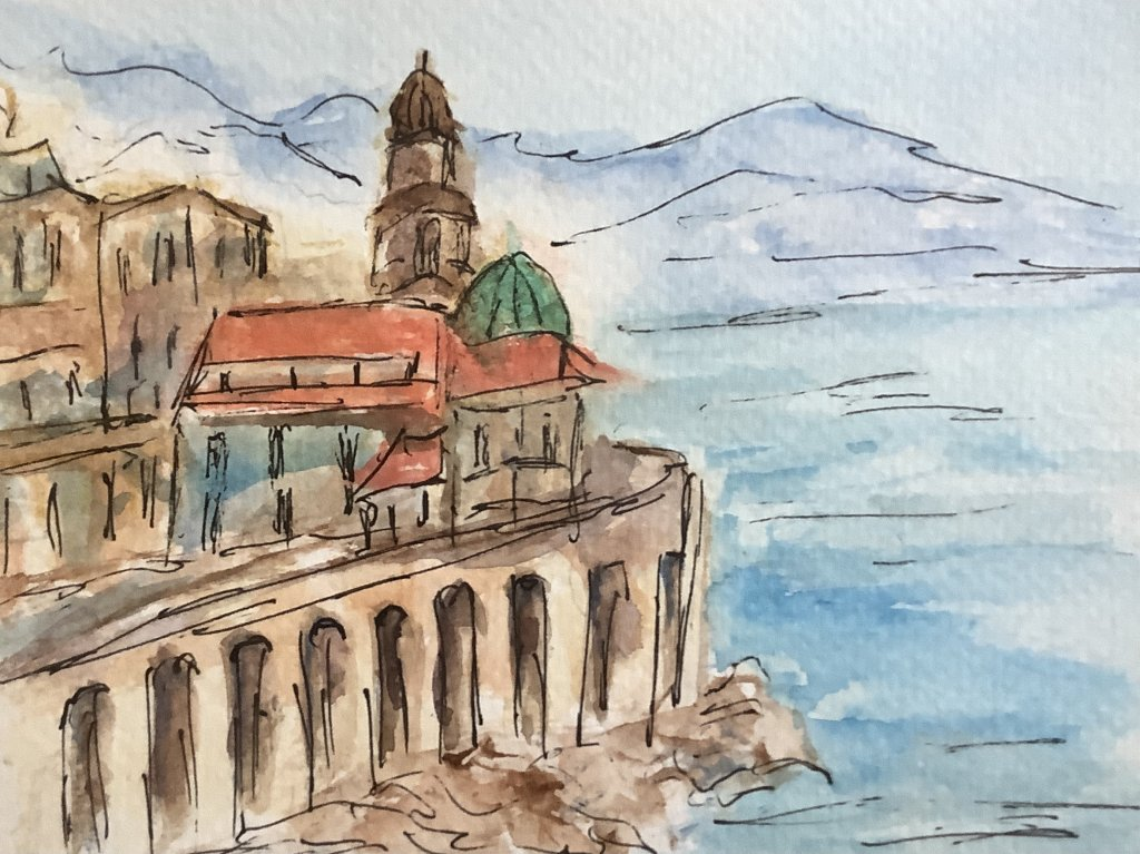#doodlewashaugust2021 day 3 seaside: the town of Atrani on Italy's Amalfi overlooks the sea. I