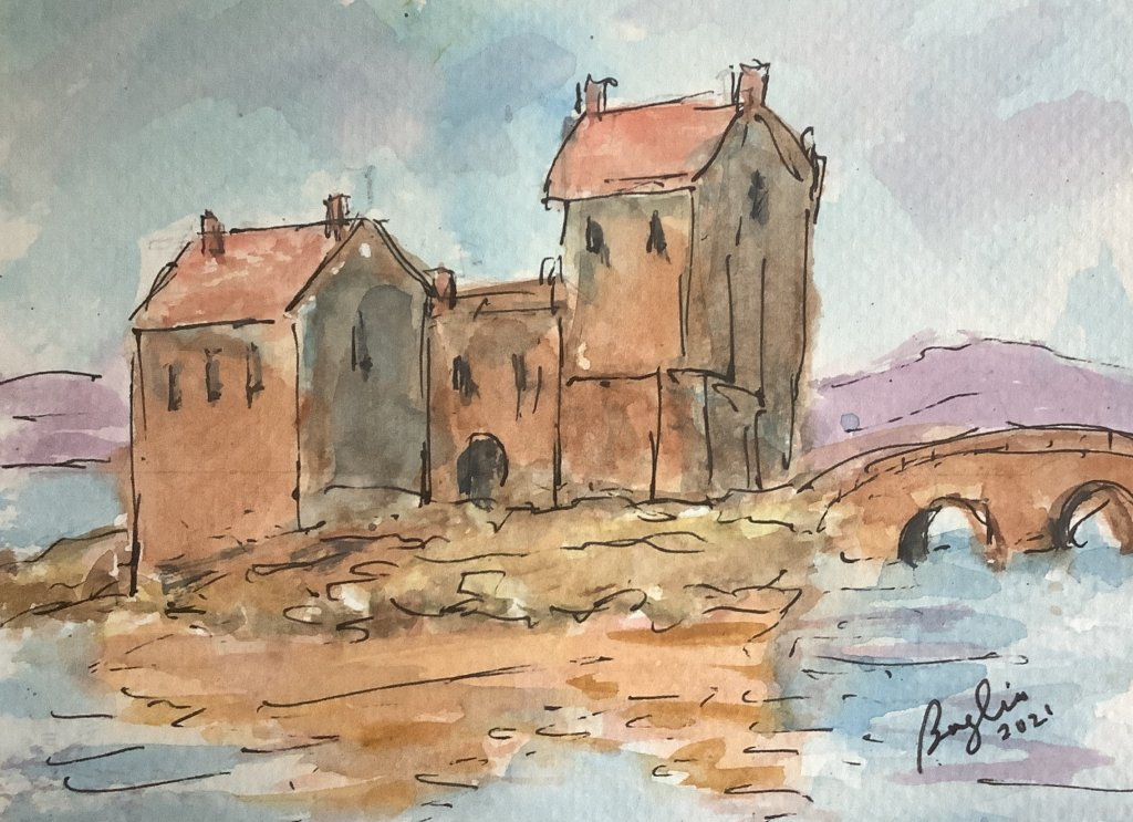 #doodlewaashaugust2021 day 4 Castle: Eileen Donon Castle, Scotland; reputed to be the most photograp
