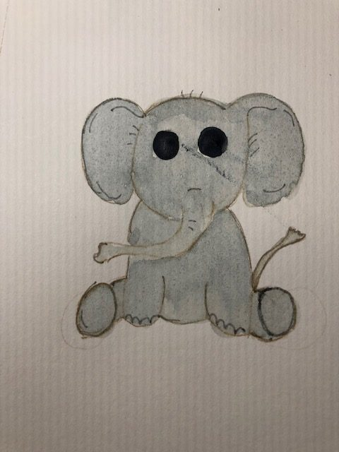 New month, new prompts and new paintings…kind of messed up my elephant a bit but liked the way