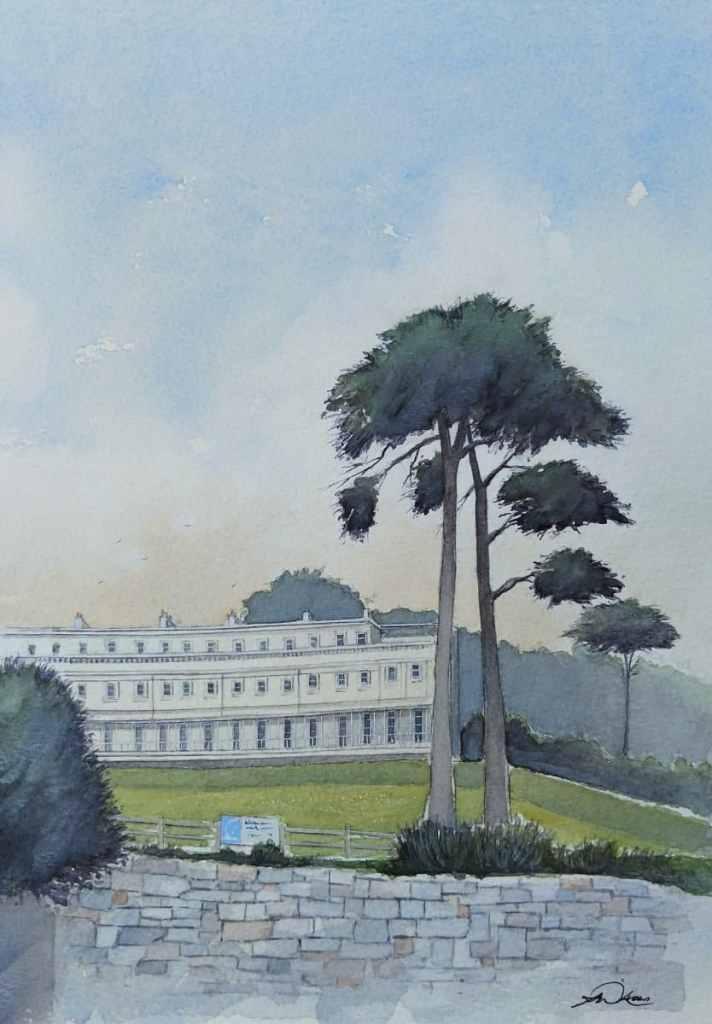 """ The Osborne Hotel "", Torquay, England. Andrew Lucas Watercolour, 29 x 21 cm, I hope yo"