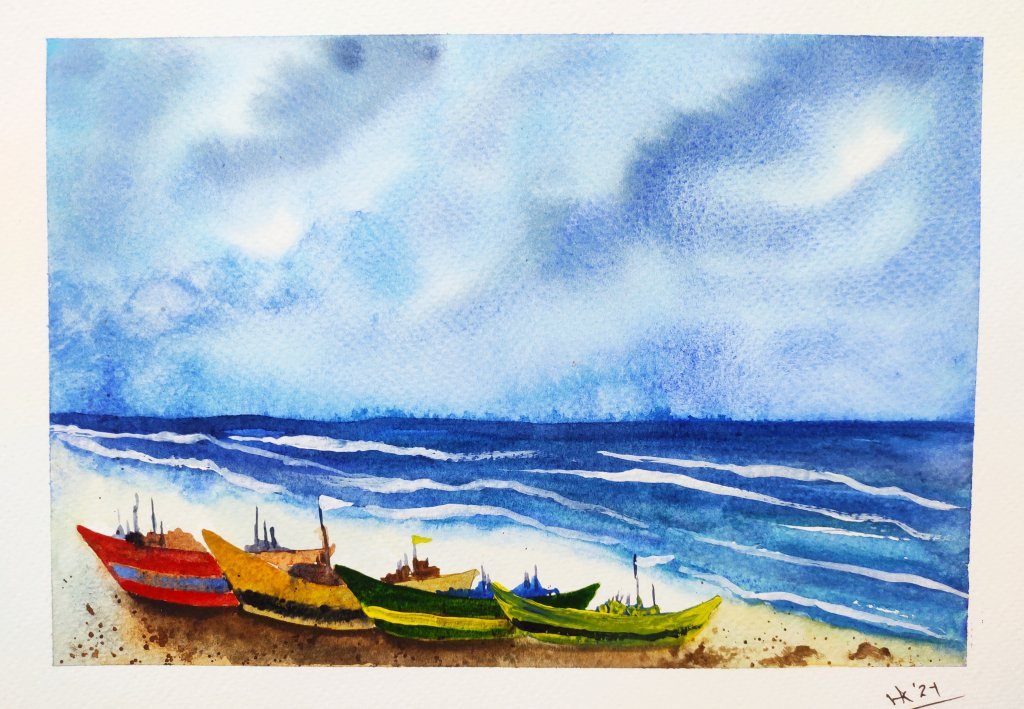Day 03 Prompt: Seaside #doodlewashAugust2021 Seaside_Varsha Koli