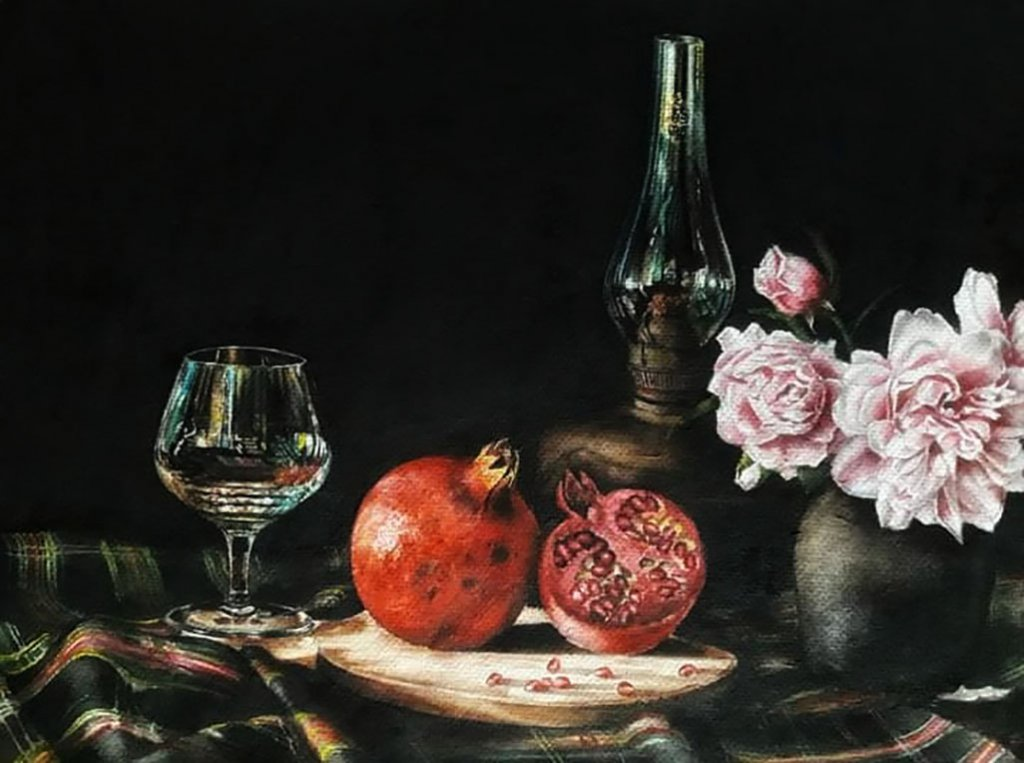 Still Life Pomegranate Watercolor Painting