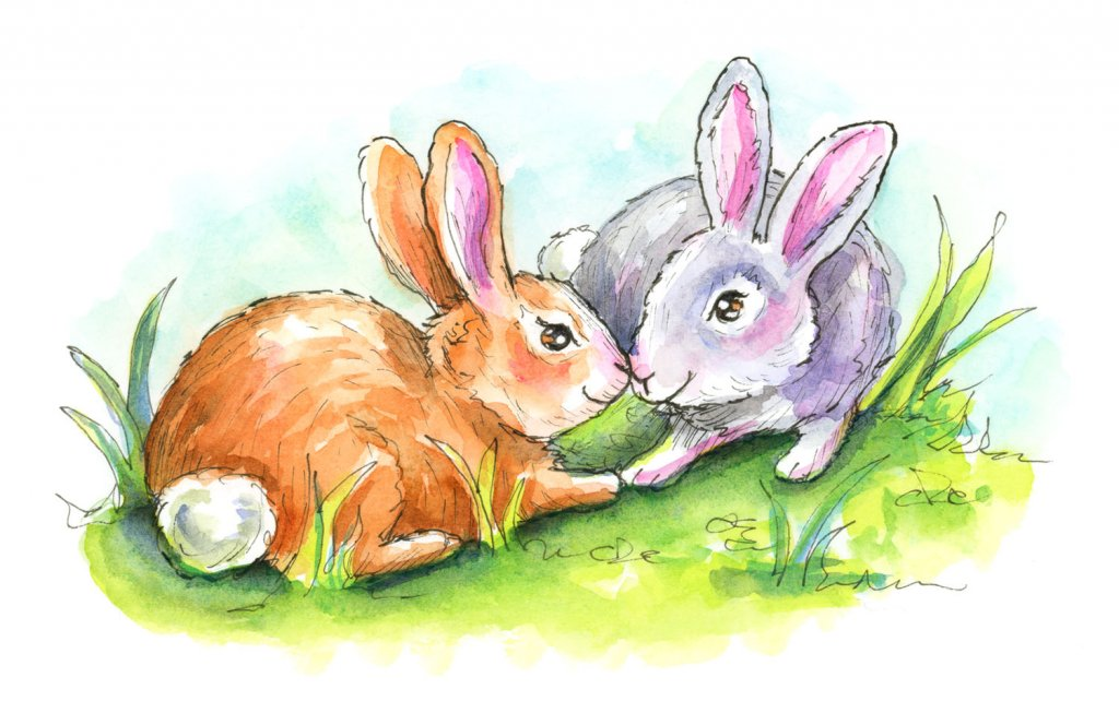Two Rabbits Bunnies Touching Noses Watercolor Illustration