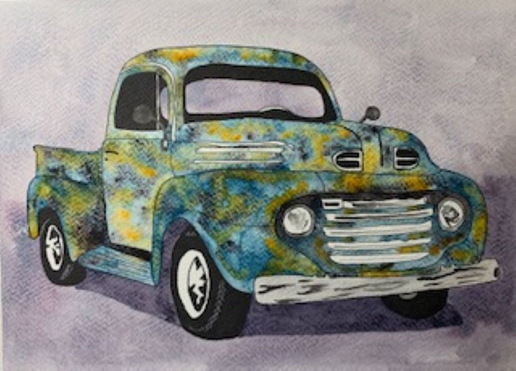 watercolor painting rusted old truck