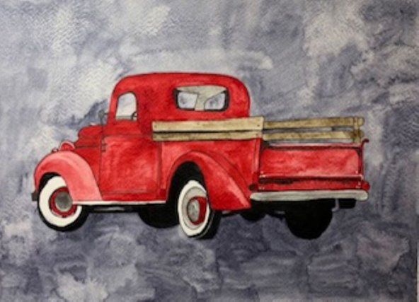 Watercolor Vintage Old Red Truck Painting