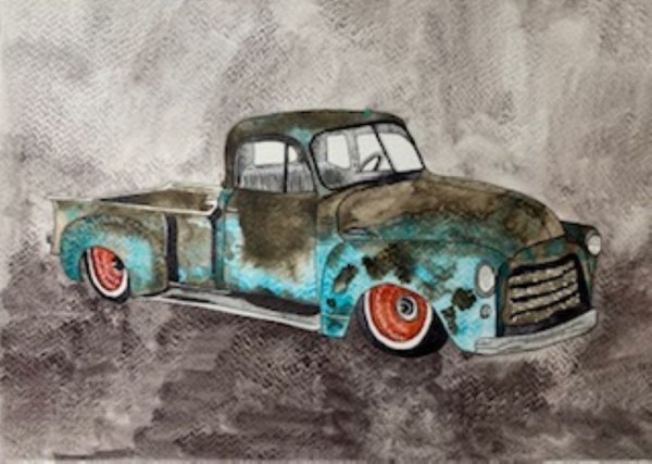 Watercolor Painting of Rusted Old Blue Truck