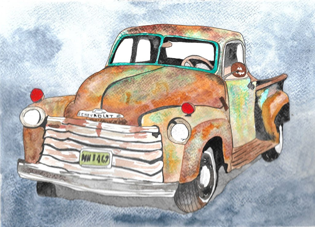Watercolor Painting of Vintage Chevrolet Truck