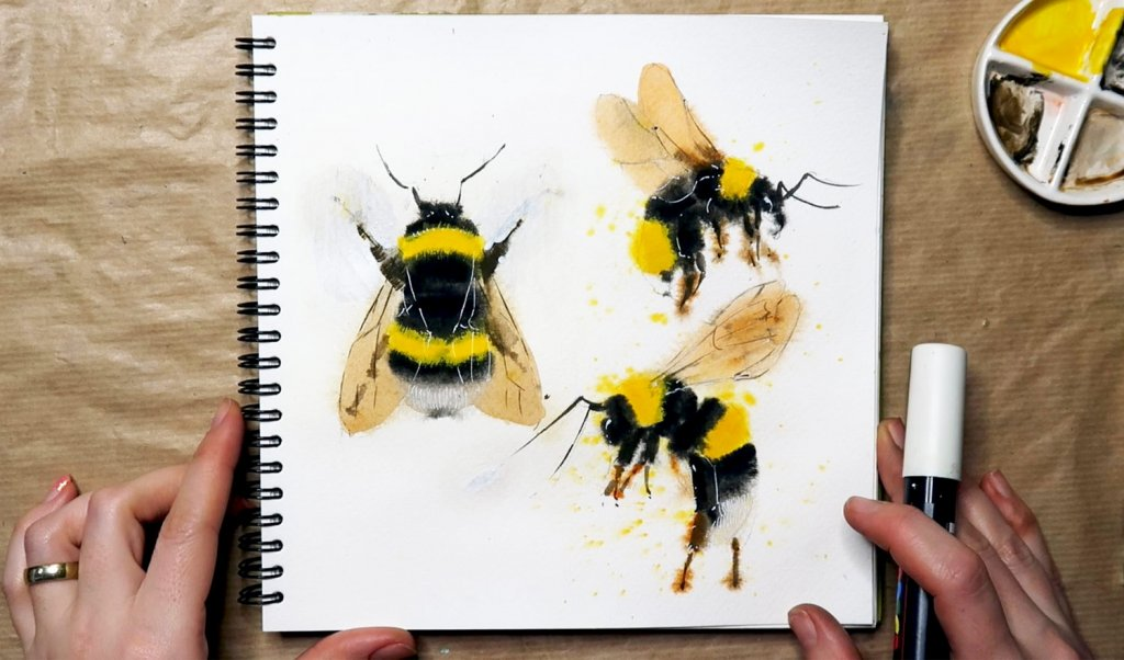 final painting of bees in gouache