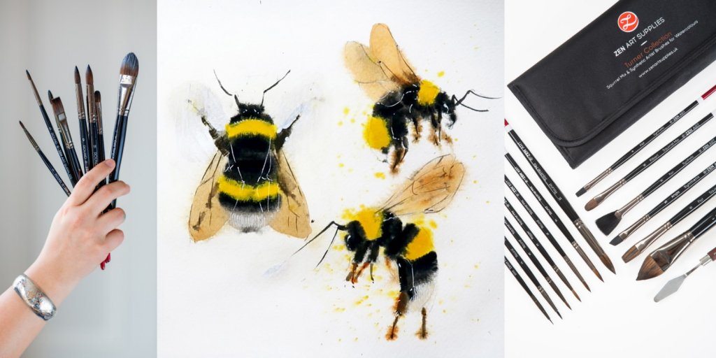 ZenArt brushes and final bees gouache painting