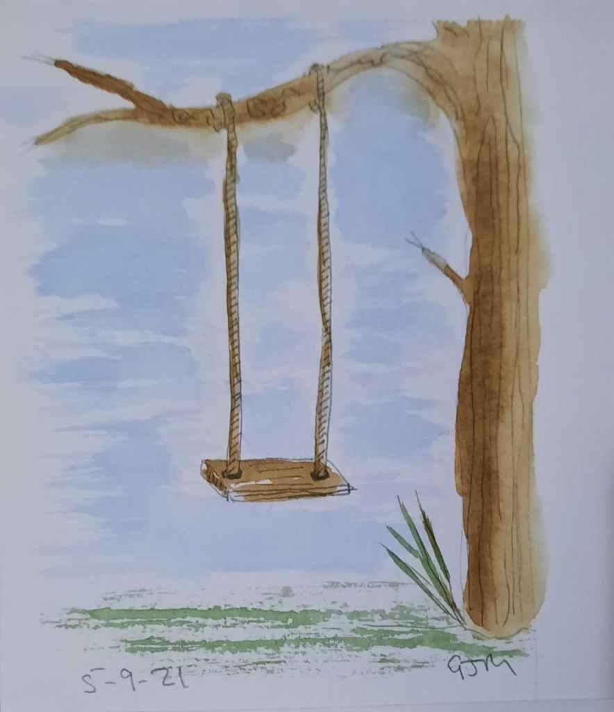 #doodlewashseptember2021 Day 6 Swing. #worldwatercolorgroup 20210905_195104