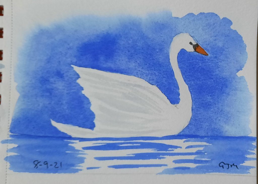 #doodlewashseptember2021 Day 8 Swan. #worldwatercolorgroup 20210908_200146