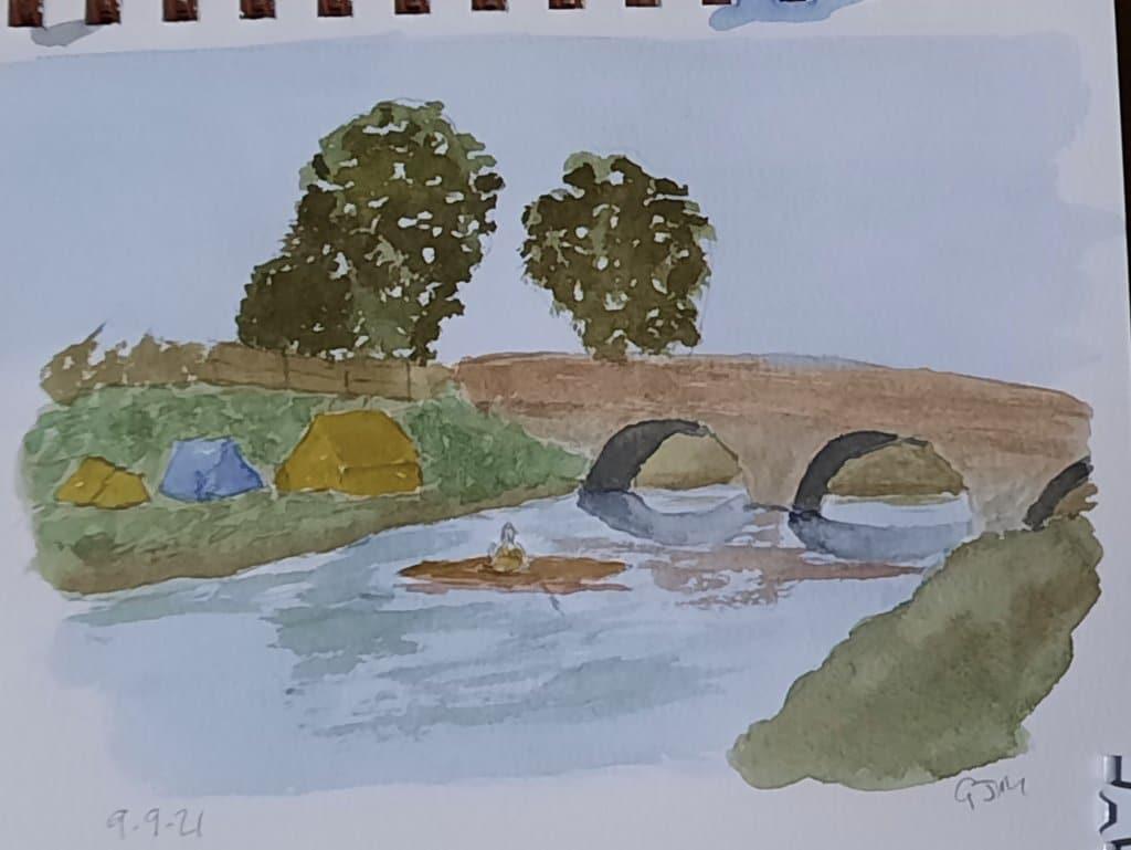 #doodlewashseptember2021 Day 9 Bridge. #worldwatercolorgroup 20210909_200513