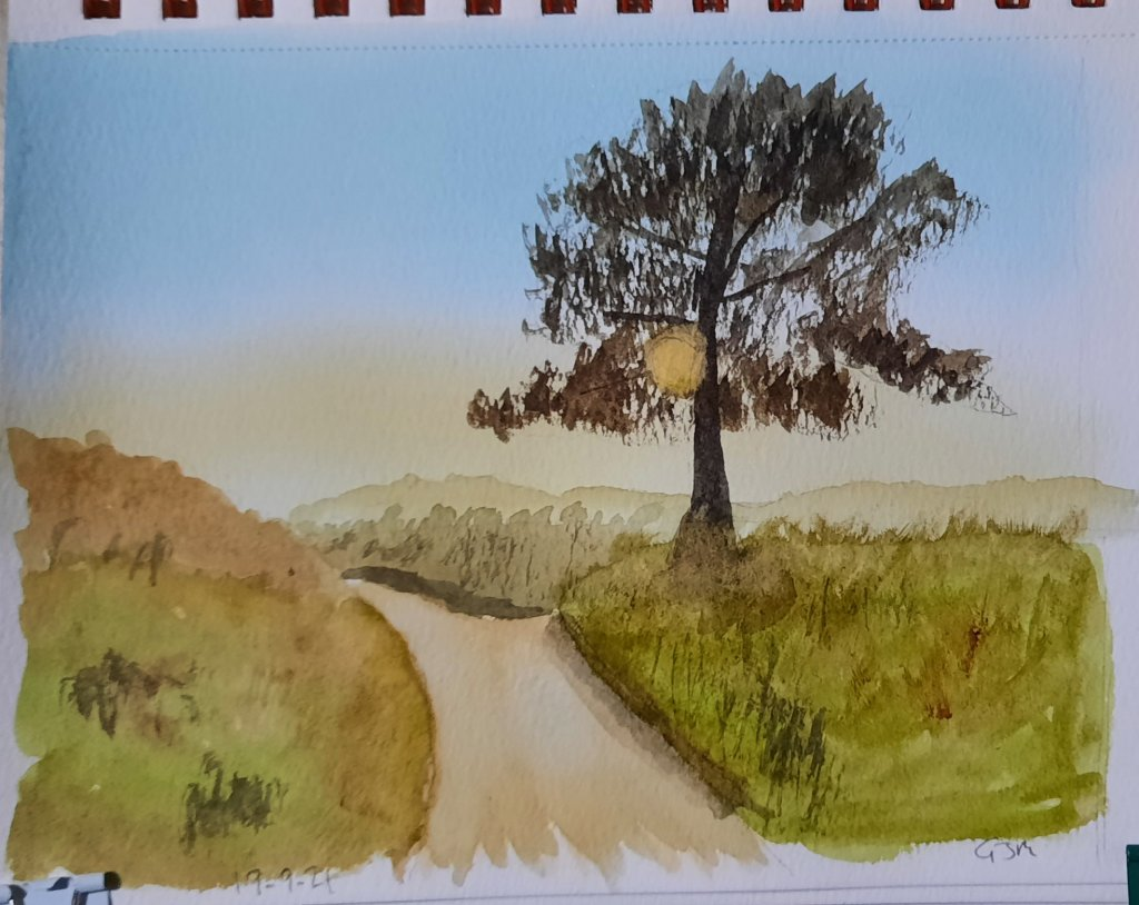 From a photo I took on the way to work a while ago. #doodlewashseptember2021 Day 19 Tree. #worldwate