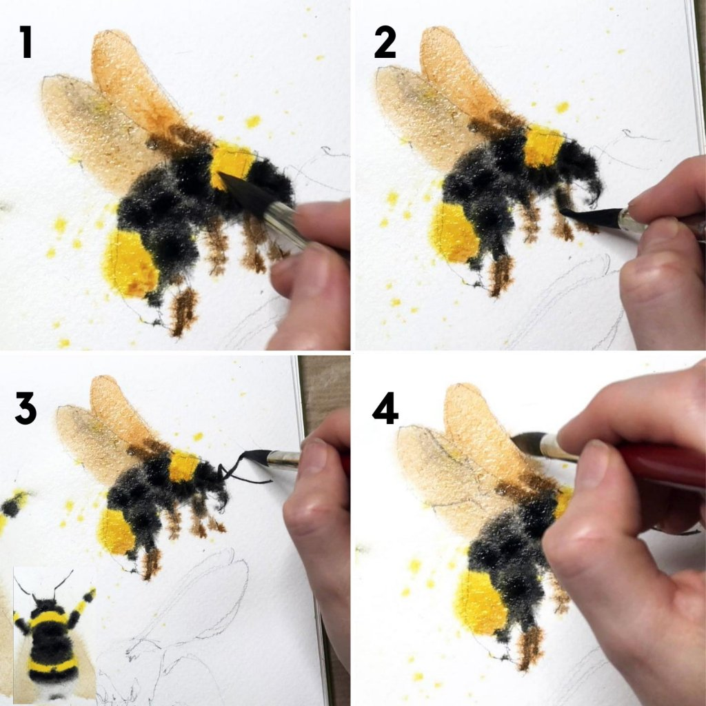 adding details painting bees in gouache