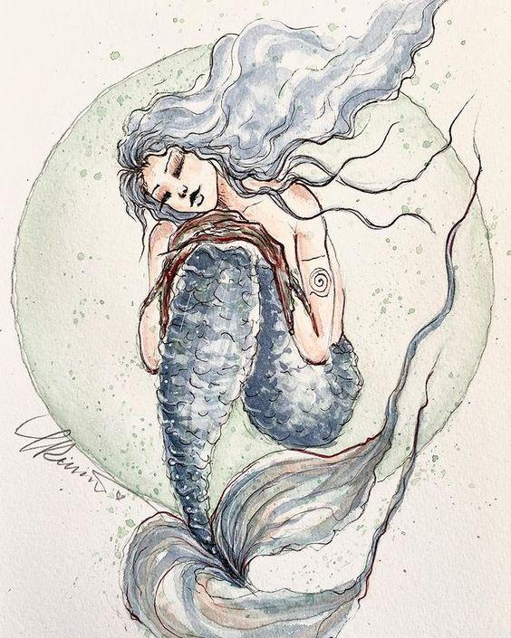Aliya Goddess of the Grounding Mermaids Painting created for Mermay 2021 Aliya Goddess of the Ground