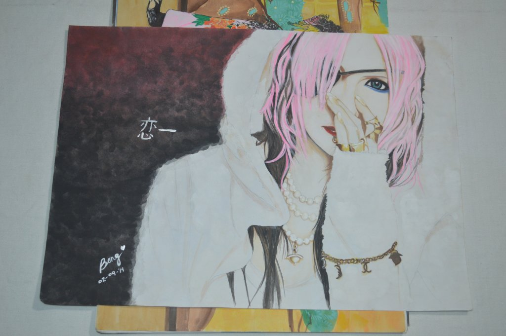 Visual Kei Fanart (Mejibray guitarist: Koichi) watercolor on paper DSC_0120