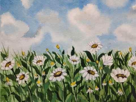 Flower Field and Sky Watercolor Painting by Hridaya Keerthana