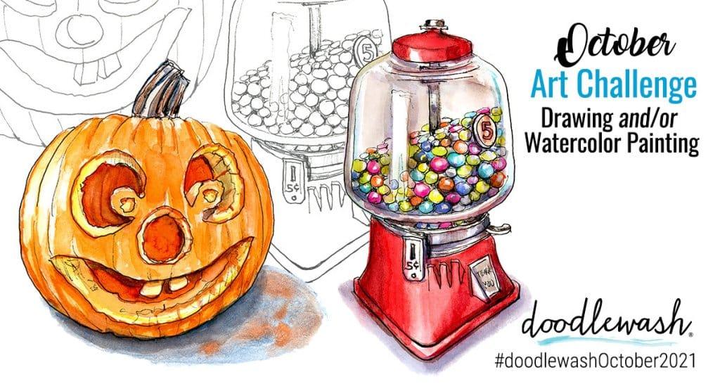 October 2021 Doodlewash Drawing Painting Challenge