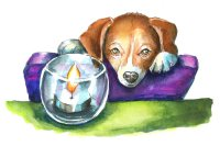 Puppy Looking At Candle Watercolor Illustration
