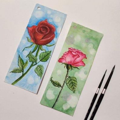 Red and Pink Rose Watercolor Bookmarks by by Hridaya Keerthana