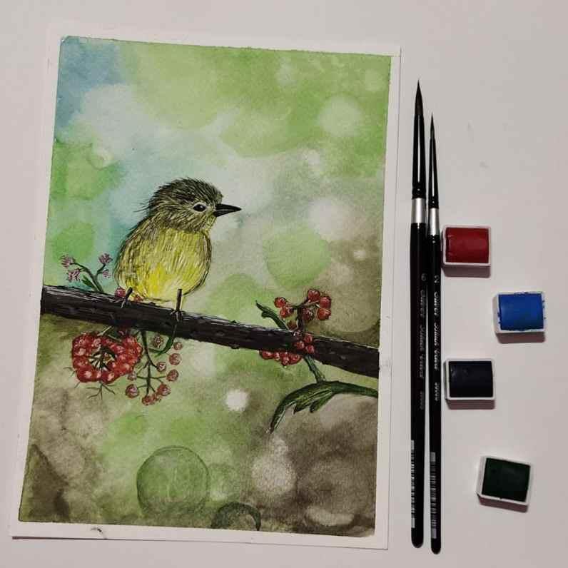 Yellow Bird Watercolor by Hridaya Keerthana