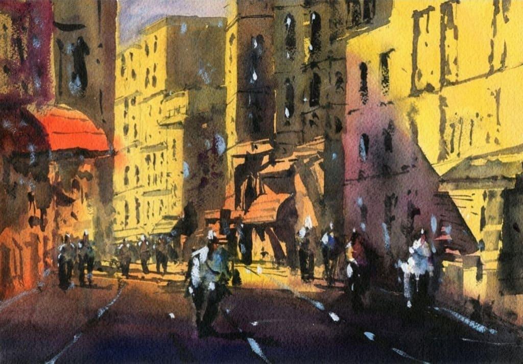 Watercolor City Street by Darren Yeo