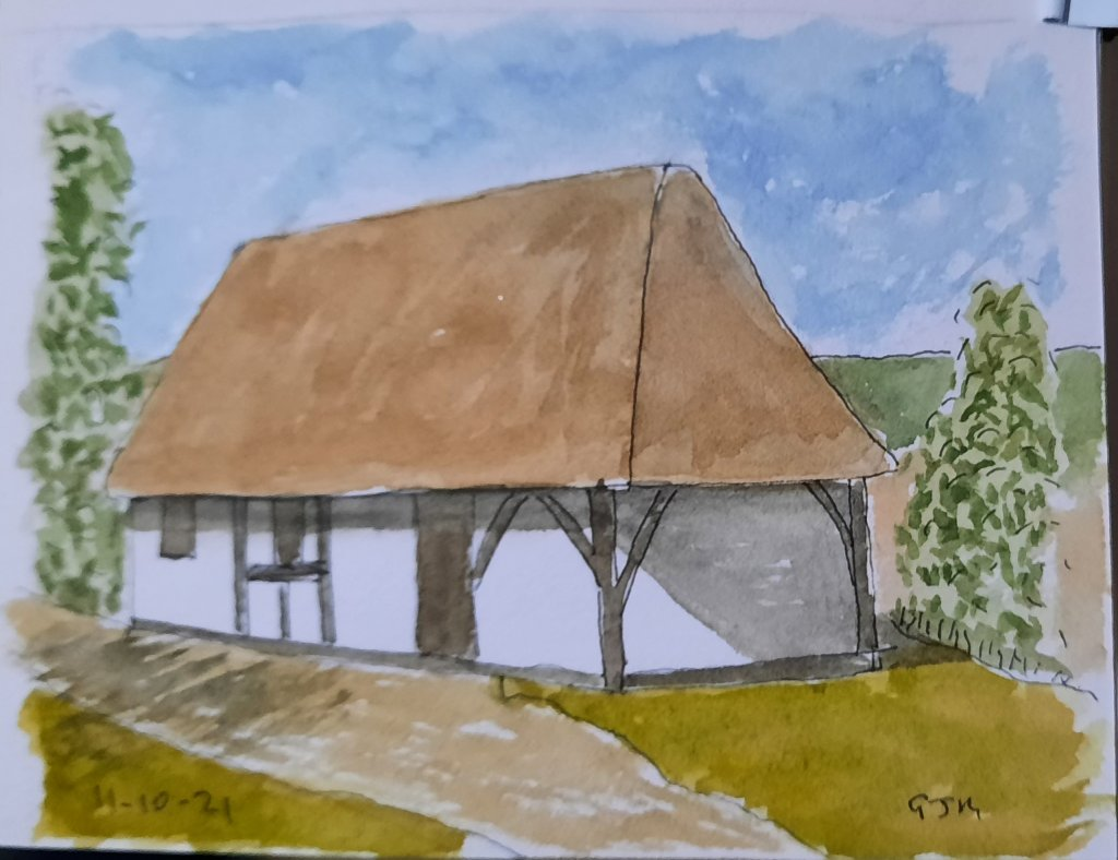 The 14th century hall from Boarhunt, a building at the Weald and Downland Living Museum. #doodlewash